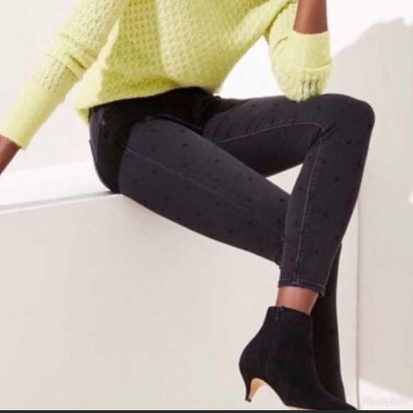 NWT LOFT Black Polka Dot Modern Skinny Jeans 14/32